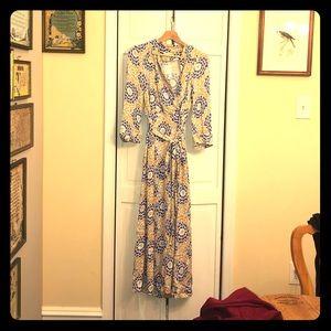 Long purple and yellow wrap dress